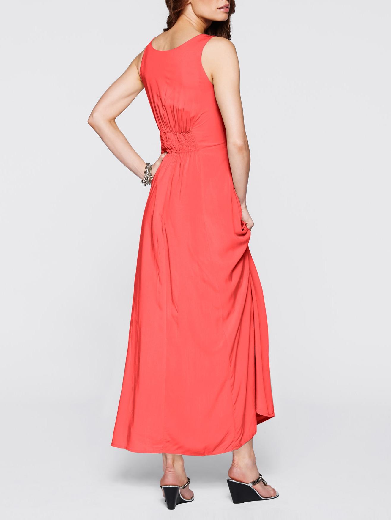 Kleid mit Stickerei Gr. 42 Koralle Maxikleid Abendkleid ...