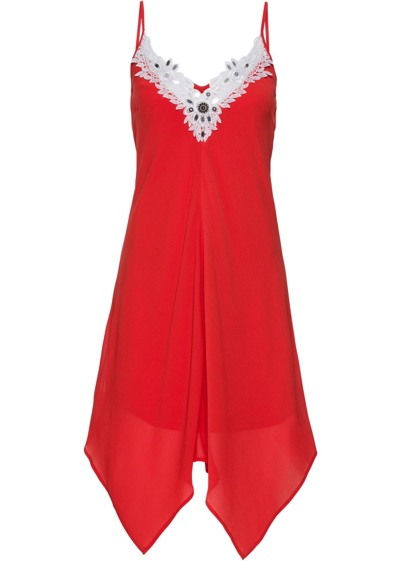 Kleid mit Spitze Gr. 46 Rot Weiß Cocktailkleid Kurzes ...