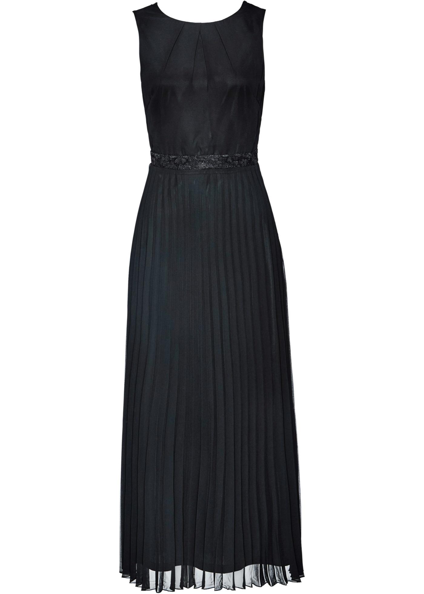 Premium Abendkleid mit Spitze Gr. 46 Schwarz Maxi-kleid ...