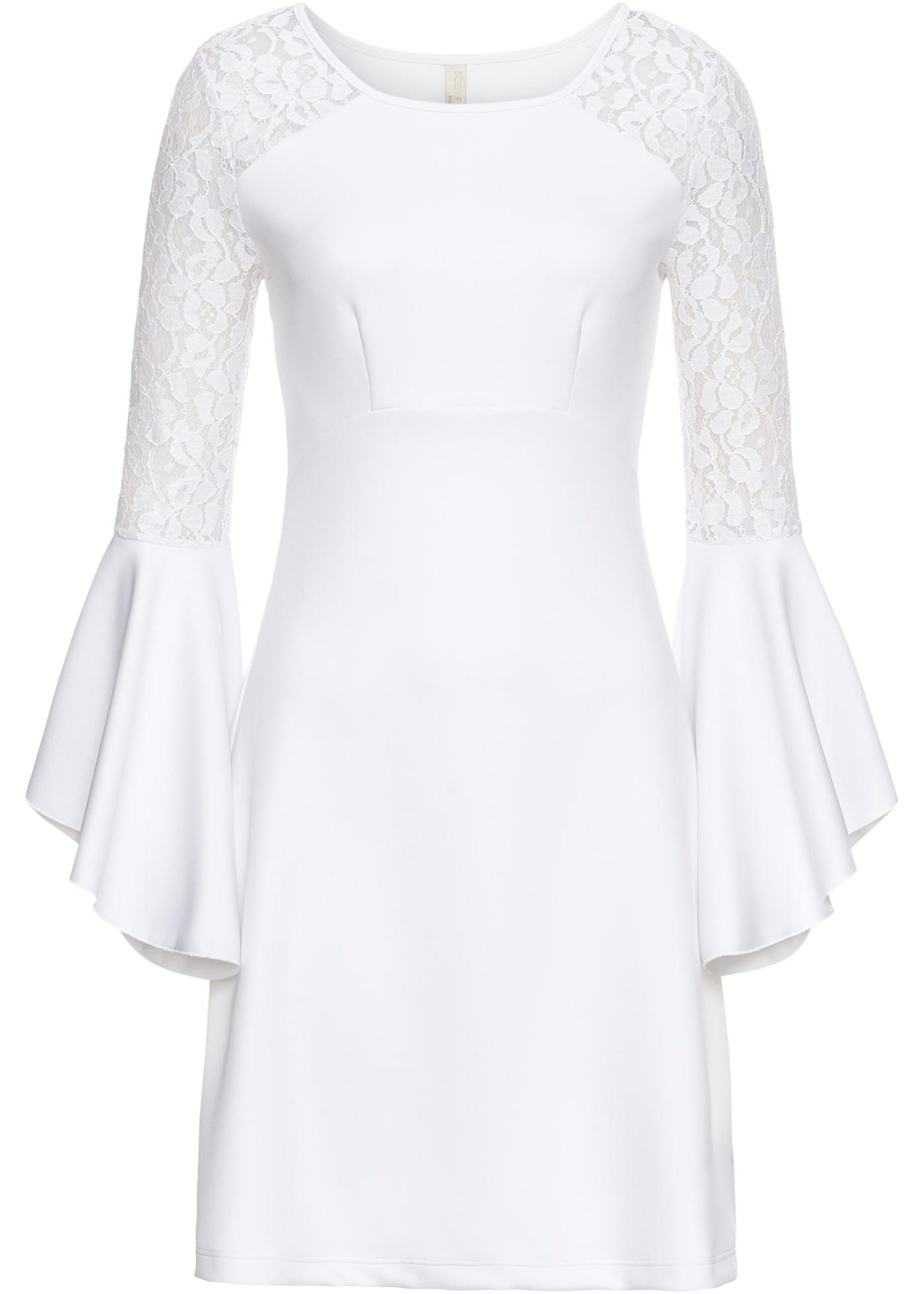 Kleid mit Volant Spitze Gr. 48/50 Weiß Abendkleid Mini ...