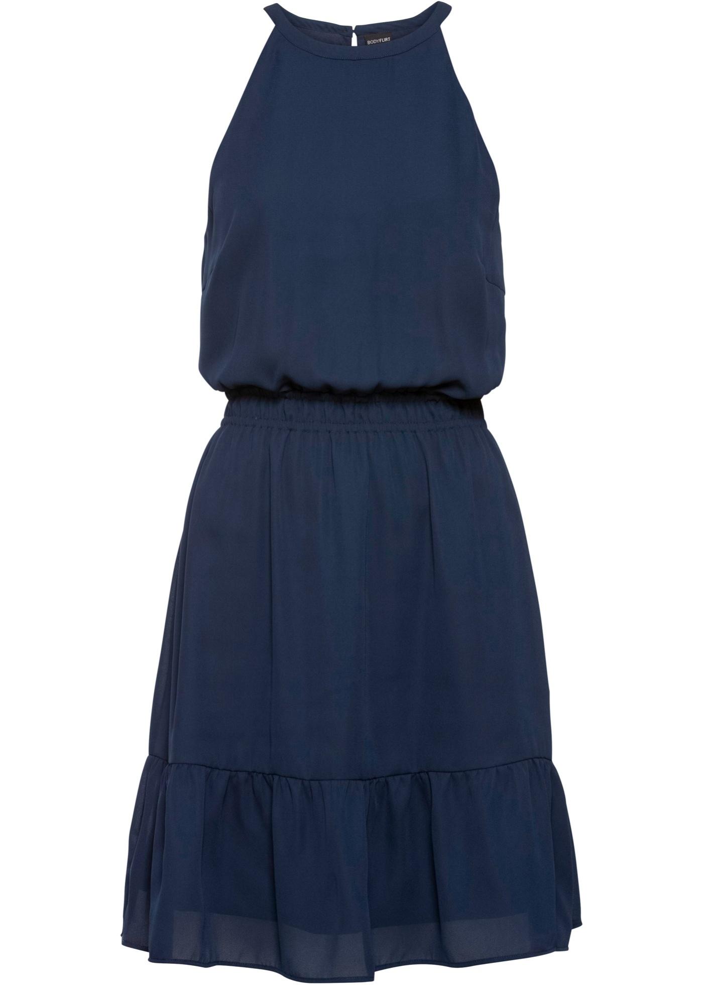 kleid mit volants gr. 48 dunkelblau sommerkleid mini