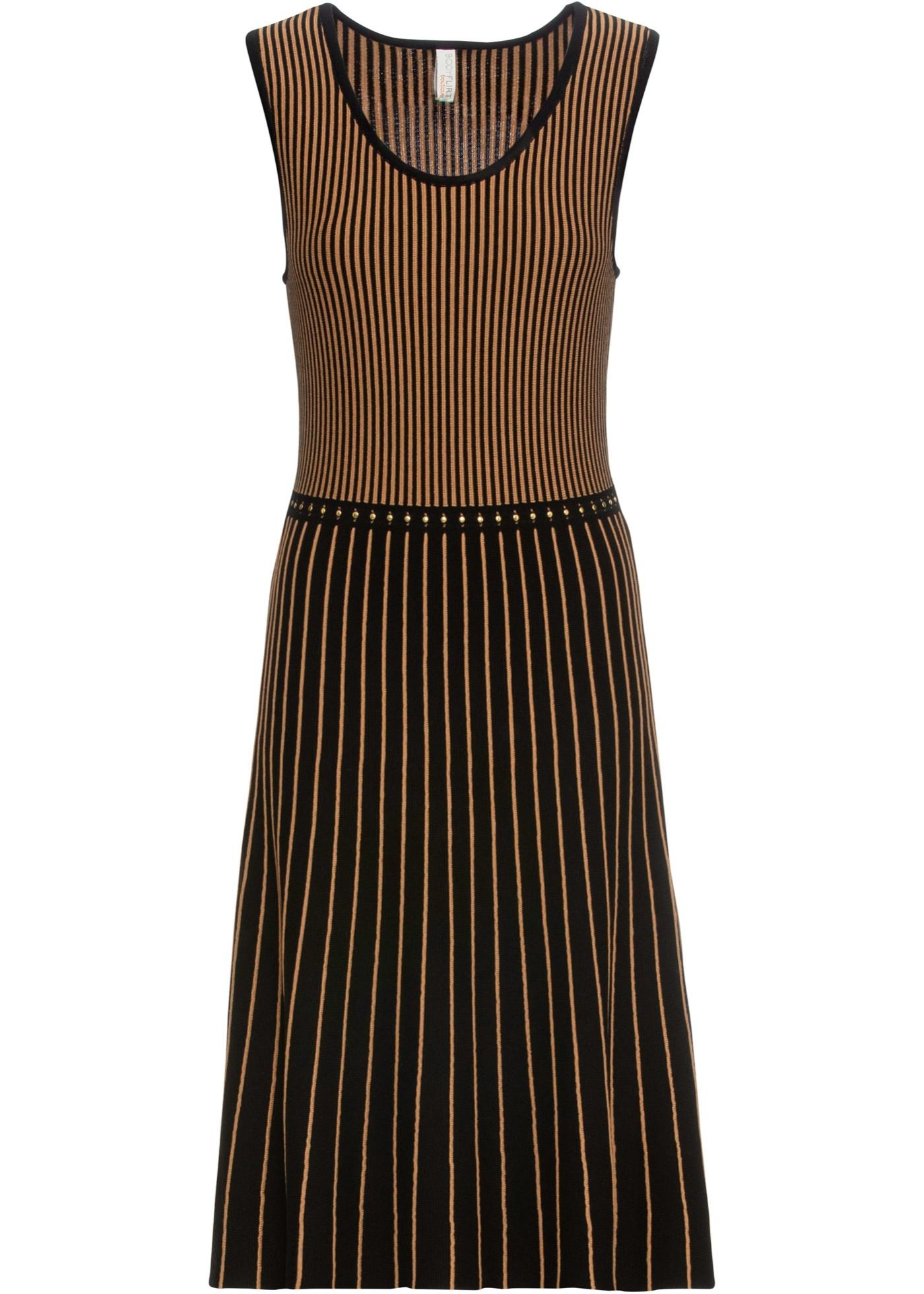 details zu strickkleid gr. 32/34 schwarz braun gestreift damen strick-kleid  abendkleid neu*