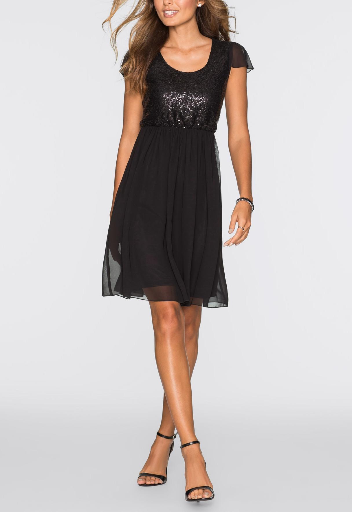 kleid mit pailletten gr 48 schwarz damen kurzes abendkleid chiffonkleid neu ebay. Black Bedroom Furniture Sets. Home Design Ideas