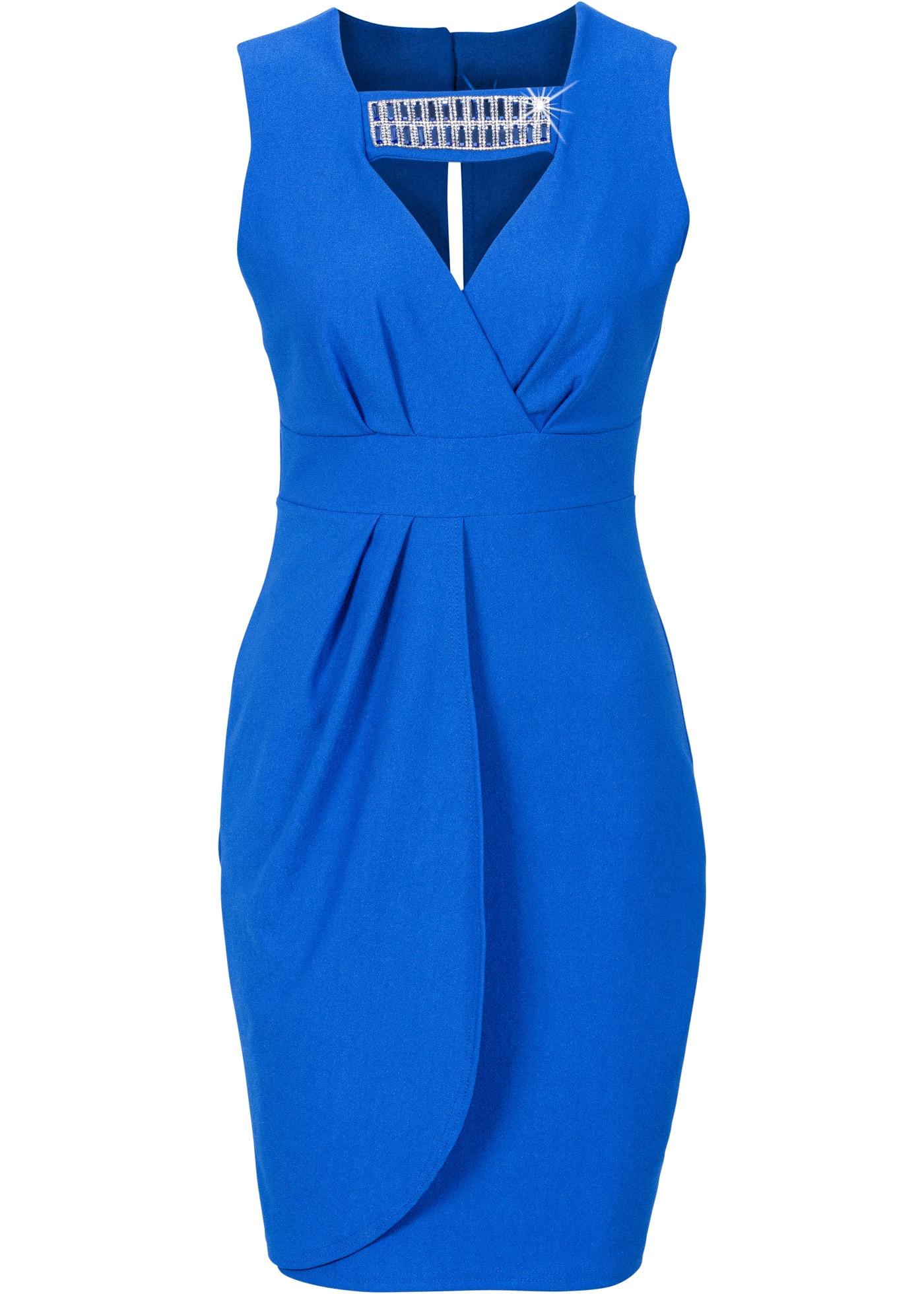 Kleid mit Steinchen Gr. 40/42 Blau Damen Kurzes Cocktailkleid ...