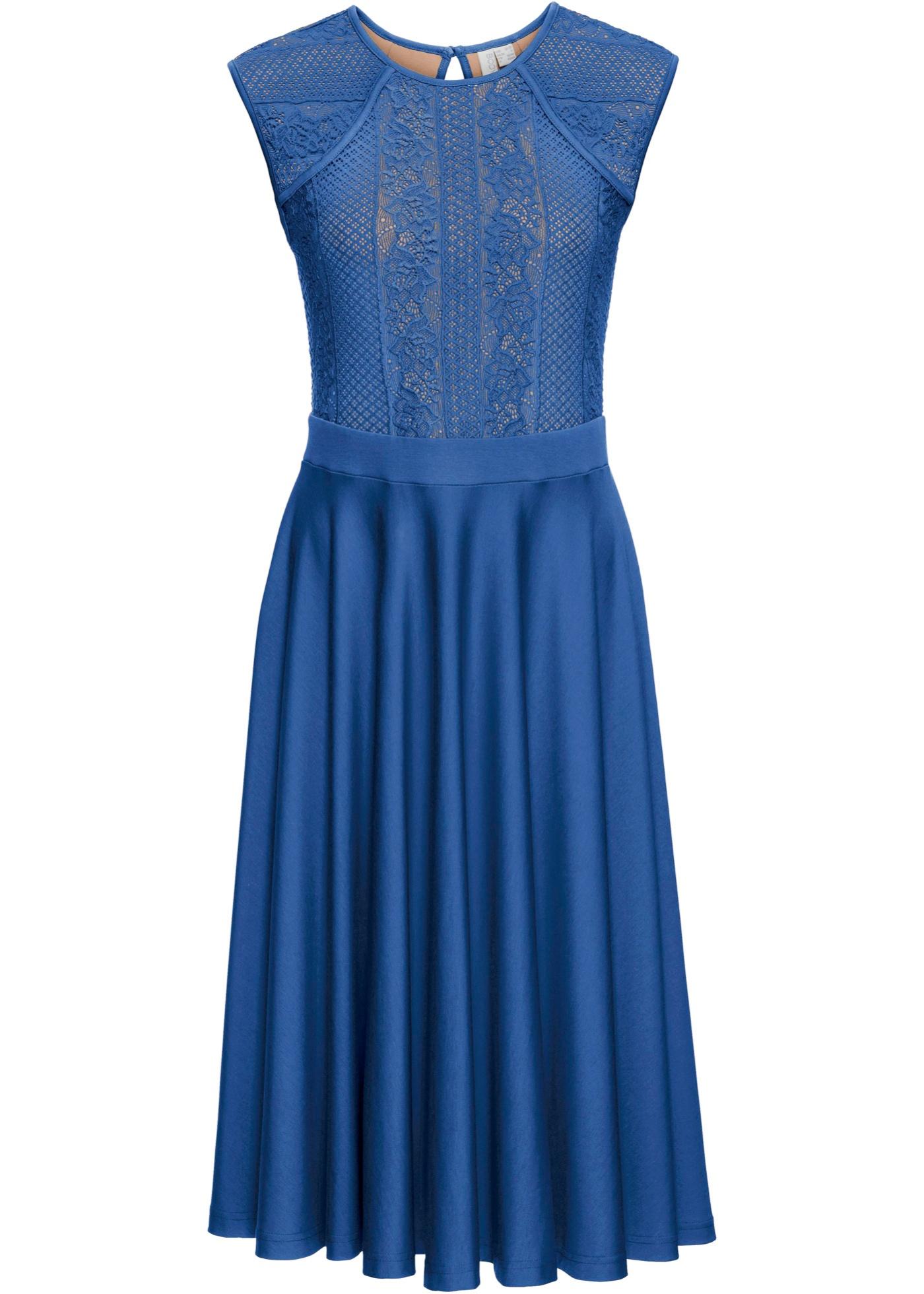 Shirtkleid mit Spitze Gr. 40/42 Blau Damen Cocktailkleid ...