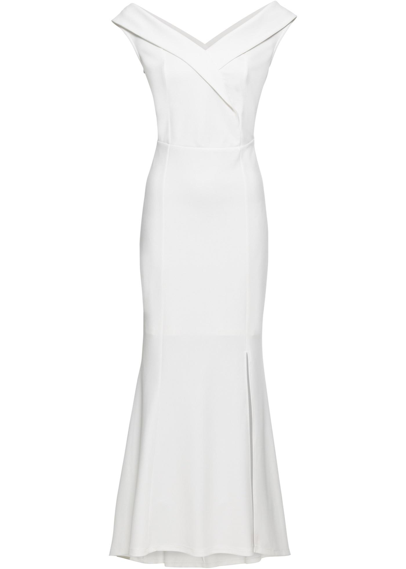 Abend-Carmen-Kleid Gr. 48 Weiß Abendkleid Eventkleid Maxi ...