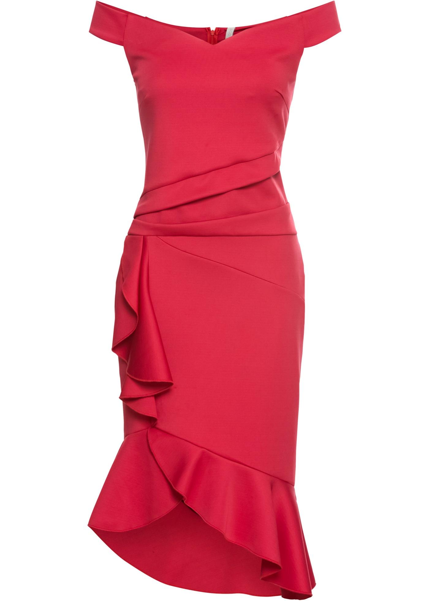 Off-Shoulder-Kleid mit Volants Gr. 40/42 Rot Abendkleid ...